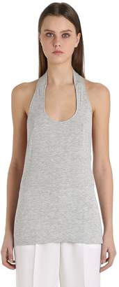 Jersey Halter Top With Low Cut Back