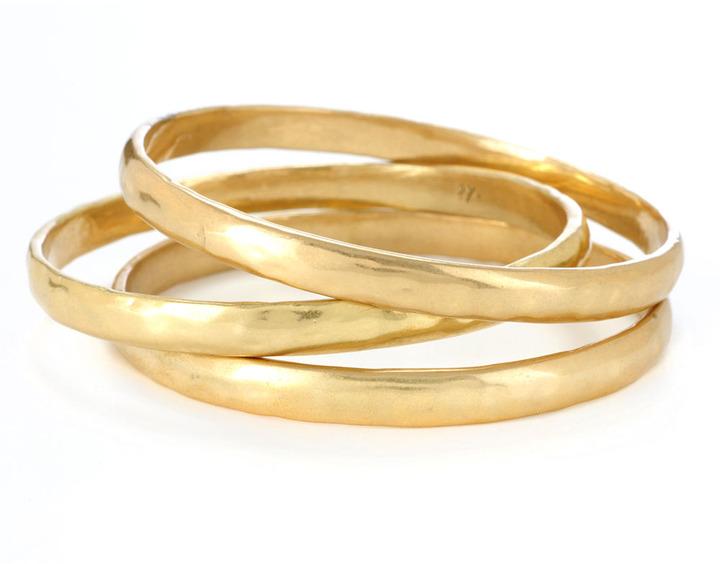 Kenneth Cole NEW YORK Gold-Tone Hammered Bangle Bracelet Set