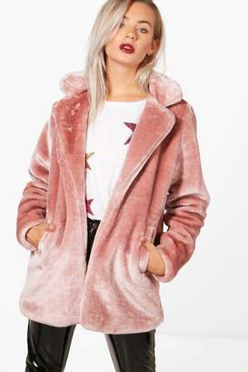 boohoo Holly Collared Faux Fur Coat