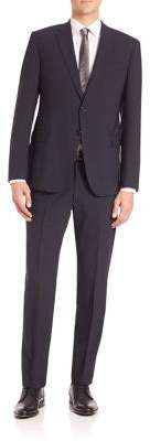 Armani Collezioni Solid Navy Wool Stretch Suit
