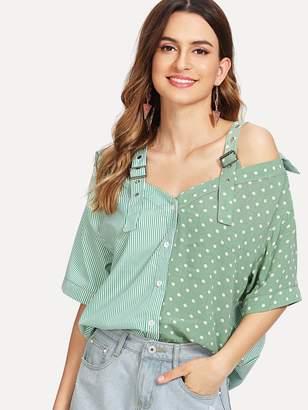 Shein Dot Spliced Buckle Strap Striped Shirt