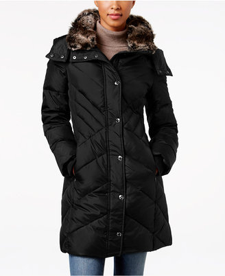 London Fog Faux-Fur-Trim Hooded Down Puffer Coat $245 thestylecure.com