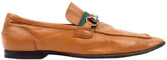 Gucci Camel Leather Flats