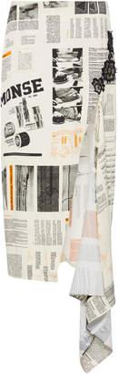 Monse Asymmetric Printed Cady Midi Skirt