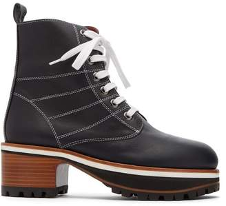 Sies Marjan - Jessa Block Heel Leather Ankle Boots - Womens - Navy
