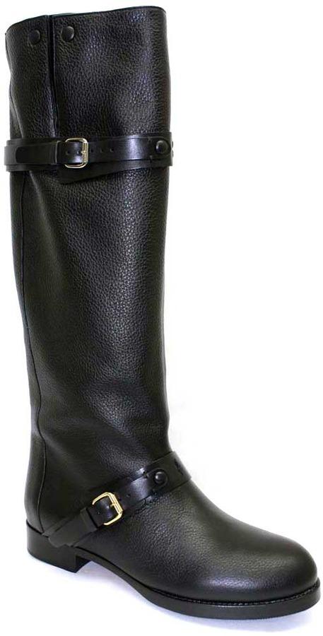 "Chloé CH21162"" Black Pebble Grain Leather Riding Boot"