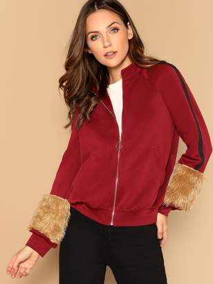 Shein Faux Fur Embellished Raglan Sleeve Bomber Jacket