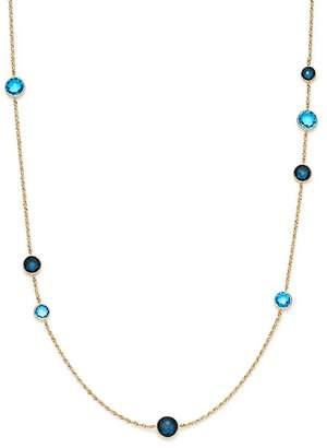 """Bloomingdale's London Blue Topaz and London Blue Sapphire Bezel Station Necklace in 14K Yellow Gold, 24"""" - 100% Exclusive"""