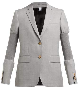 Burberry Single Breasted Ribbed Panel Wool Blazer - Womens - Grey