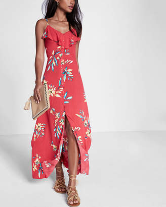 Express Petite Floral Print Ruffle Button Front Maxi Dress
