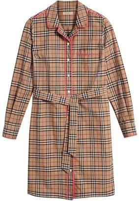 Burberry contrast piping check shirt dress