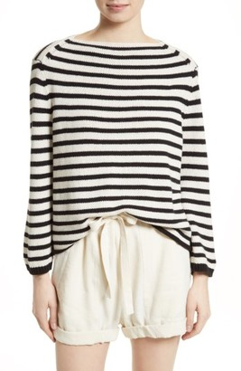 Women's Vince Stripe Cotton Blend Pullover $275 thestylecure.com