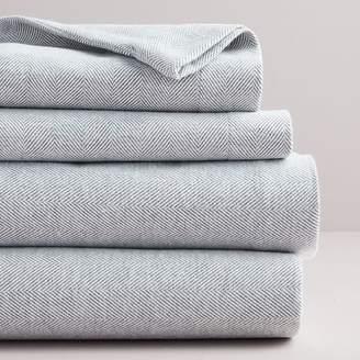 west elm Flannel Herringbone Sheet Set - Medium Gray