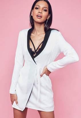 Missguided White Hammered Satin Monochrome Blazer Dress