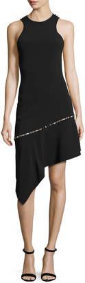 Jonathan Simkhai Pearly-Studded Asymmetric Sleeveless Dress, Black