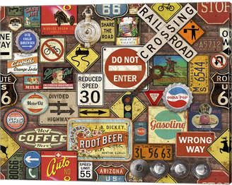 Metaverse Road Signs On Brick By Jean Plout Canvas Art