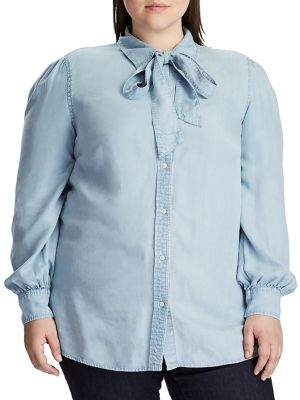 Lauren Ralph Lauren Plus Straight-Fit Chambray Button-Down Shirt