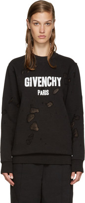 Givenchy Black Destroyed Logo Pullover $1,190 thestylecure.com