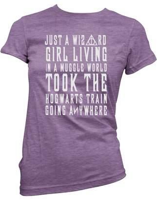 Brain Juice Tees Just A Wizard Girl in A Muggle World Womens Junior Fit Shirt (Medium, )