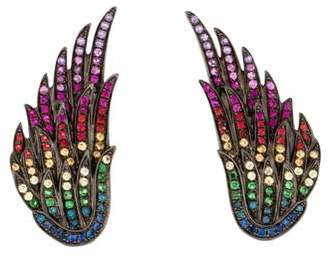 As 29 AS29 18K Diamond-Accented Sapphire & Tsavorite Wing Earclips