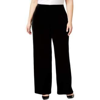Alfani Womens Plus Velvet Curvy Fit Culottes Black