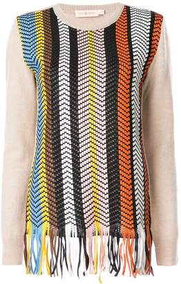Tory Burch hand woven leather-front jumper