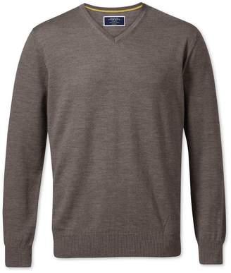 Charles Tyrwhitt Mocha Merino Wool V-Neck Sweater Size XL