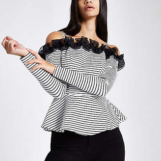 River Island Womens White stripe long sleeve peplum bardot top