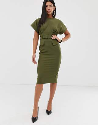 Asos Design DESIGN belted midi utility pencil dress