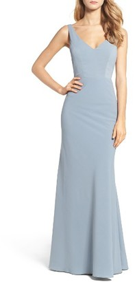 Women's Jenny Yoo Delaney Tie Back V-Neck Gown $275 thestylecure.com