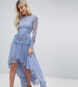 Lace and Beads Lace & Beads embroidered high low dress in blue