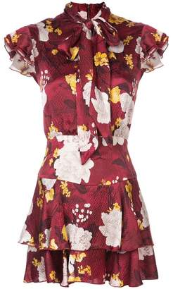 Alice + Olivia Alice+Olivia floral print tie neck dress