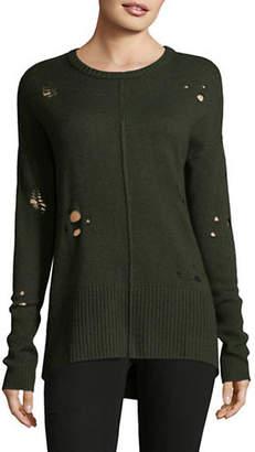 Autumn Cashmere Distressed Hi-Lo Cashmere-Blend Sweater