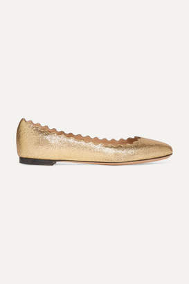 Chloé Lauren Scalloped Metallic Cracked-leather Ballet Flats - Gold