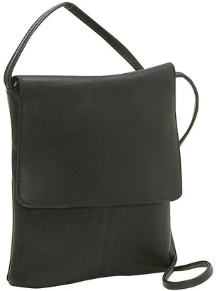 a2ecbaca166c Black Leather Flap Over Bag - ShopStyle
