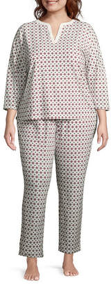 Liz Claiborne Jersey Long Sleeve Y Neck Nightshirt-Plus