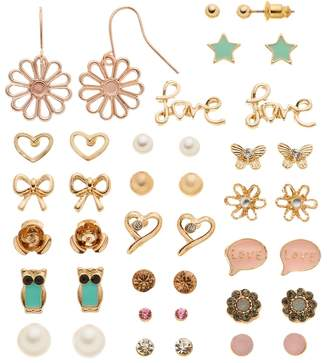 Mudd Flower, Star, Heart, Butterfly, Owl, Bow & ''Love'' Earring Set