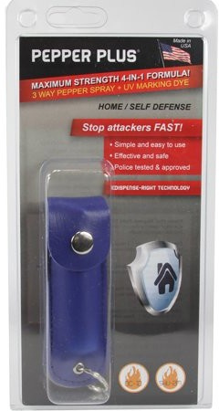 Pepper Plus Style PP12 - Pepper Spray with Leatherette Holster Key Ring - Blue (0.5 oz)