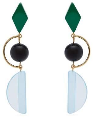 Marni Long Resin And Metal Hook Earrings - Womens - Blue