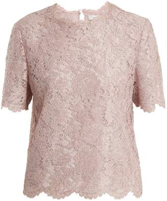 Valentino Lamé-lace short-sleeved top