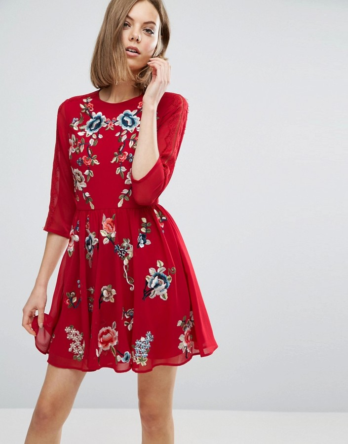 Asos ASOS PREMIUM Mini Skater Dress with Floral Embroidery