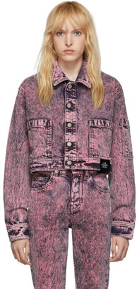 S.R. STUDIO. LA. CA. Pink SOTO Denim Mineral Wash Cropped Lab Jacket