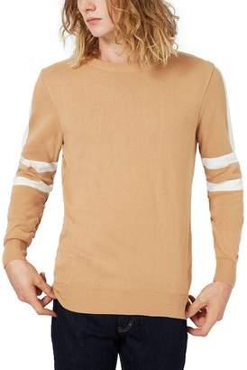 TOPMAN Stripe Sleeve Crewneck Sweater $60 thestylecure.com