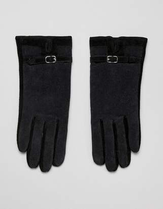 Barney's Originals suede & cord mix gloves