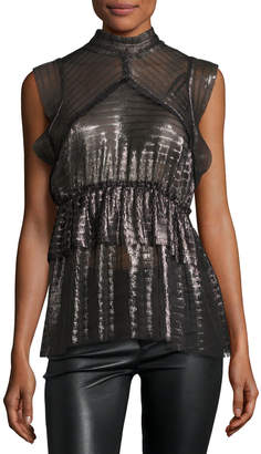 IRO Anmari Sleeveless Tiered Metallic Top, Black/Silver
