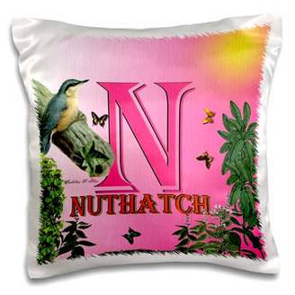 N. 3dRose Decorative Animal Alphabet Art for children is for a Nuthatch Bird sitting on a log - Pillow Case, 16 by 16-inch