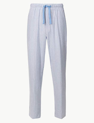 M&S CollectionMarks and Spencer Cotton Blend Striped Long Pyjama Bottoms