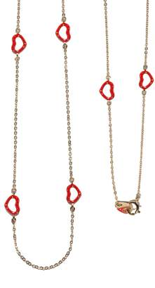Jordan Askill Red Glitter Enamel Multi-Heart Necklace