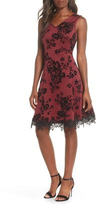 Donna Ricco Floral Flocked Scuba Crepe Dress
