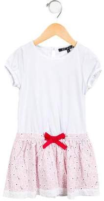 Lili Gaufrette Girls' Bow-Accented Broderie Anglaise Dress